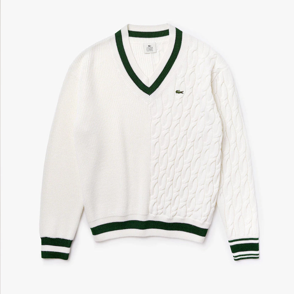 UNISEX LACOSTE LIVE WOOL BLEND V-NECK SWEATER (WHITE/GREEN)