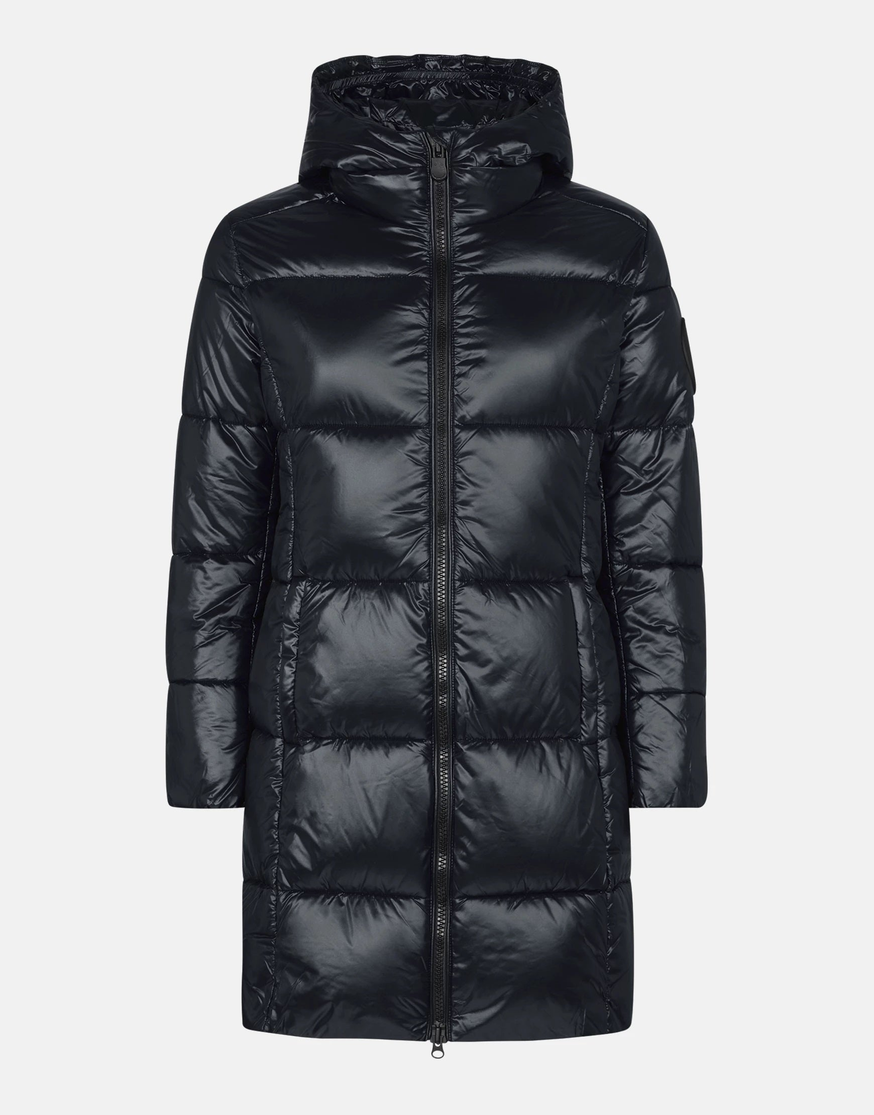 SAVE THE DUCK WOMEN'S LUCK MAXI-QUILTED HOODED COAT BLACK