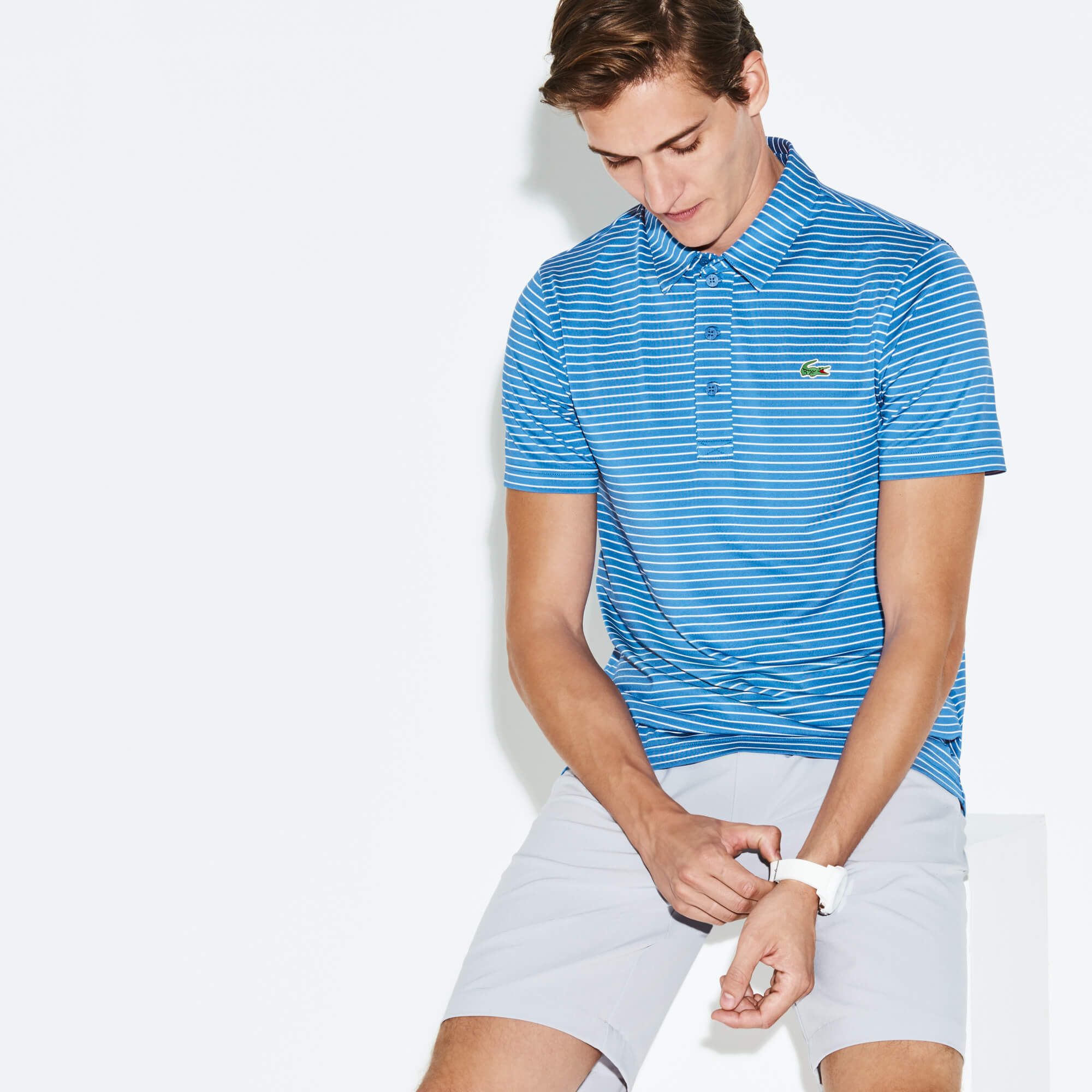 MEN'S SPORT STRIPED STRETCH GOLF POLO