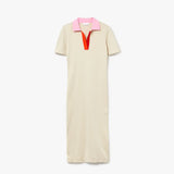 WOMEN'S POLO COLLAR TWO-TONE COTTON KNIT LONG SWEATER DRESS (BEIGE, NAVY BLUE)