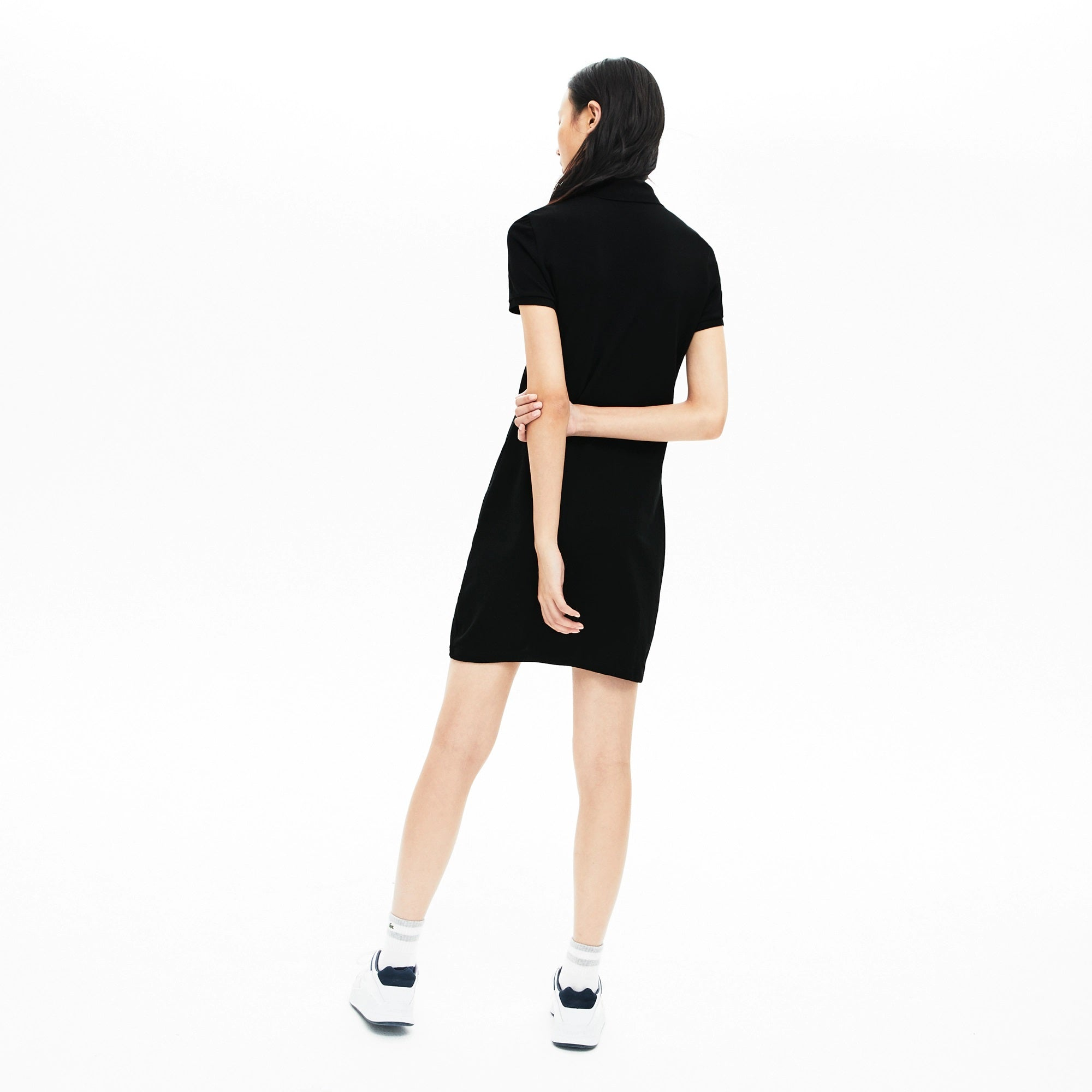 Women's Stretch Cotton Mini Piqué Polo Dress_BLACK