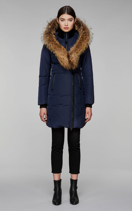 Kay Length Classic Down COat with Fur Collar Ink