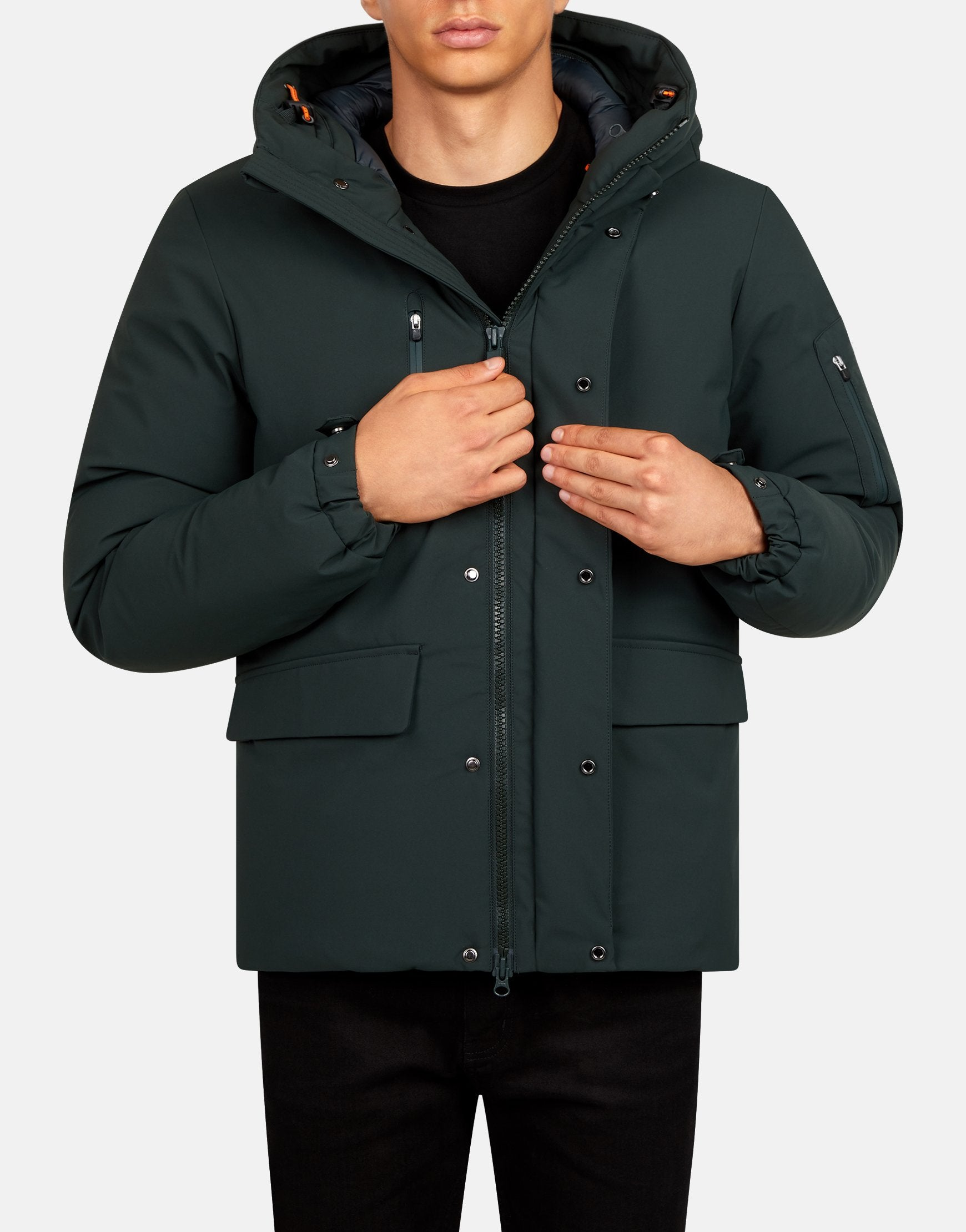 SAVE THE DUCK MEN'S SMEG WINTER HOODED PRACTICAL PARKA Green Black