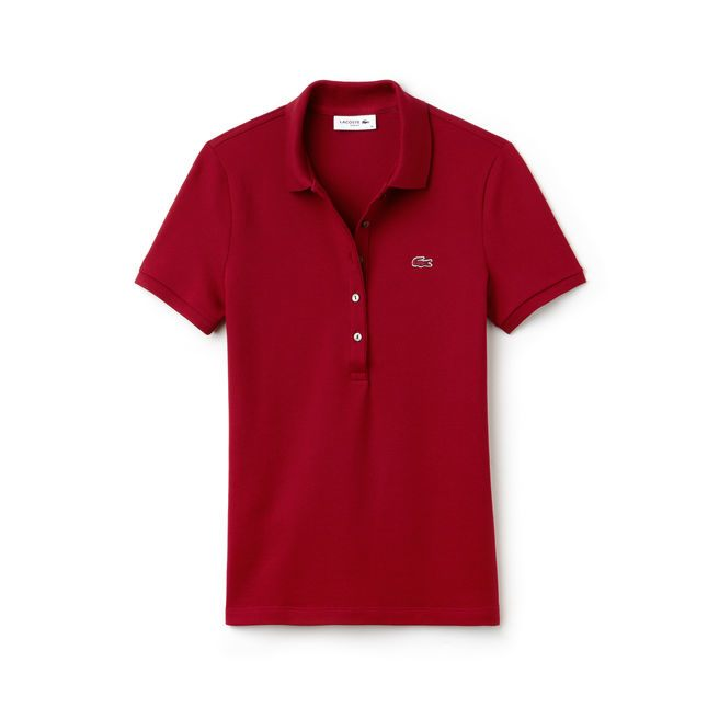 WOMEN'S SLIM FIT STRETCH MINI COTTON PIQUÉ POLO SHIRT_BORDEAUX