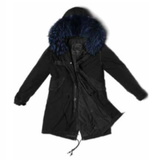 Black Parka Quilt Lining (Blue Fur)