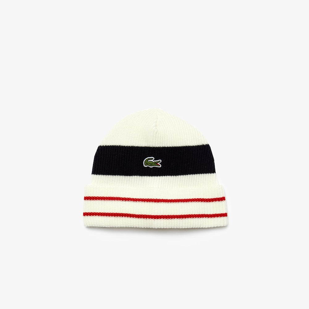 MEN'S MADE IN FRANCE STRIPED RIBBED WOOL BEANIE (WHITE/NAVY BLUE/RED)