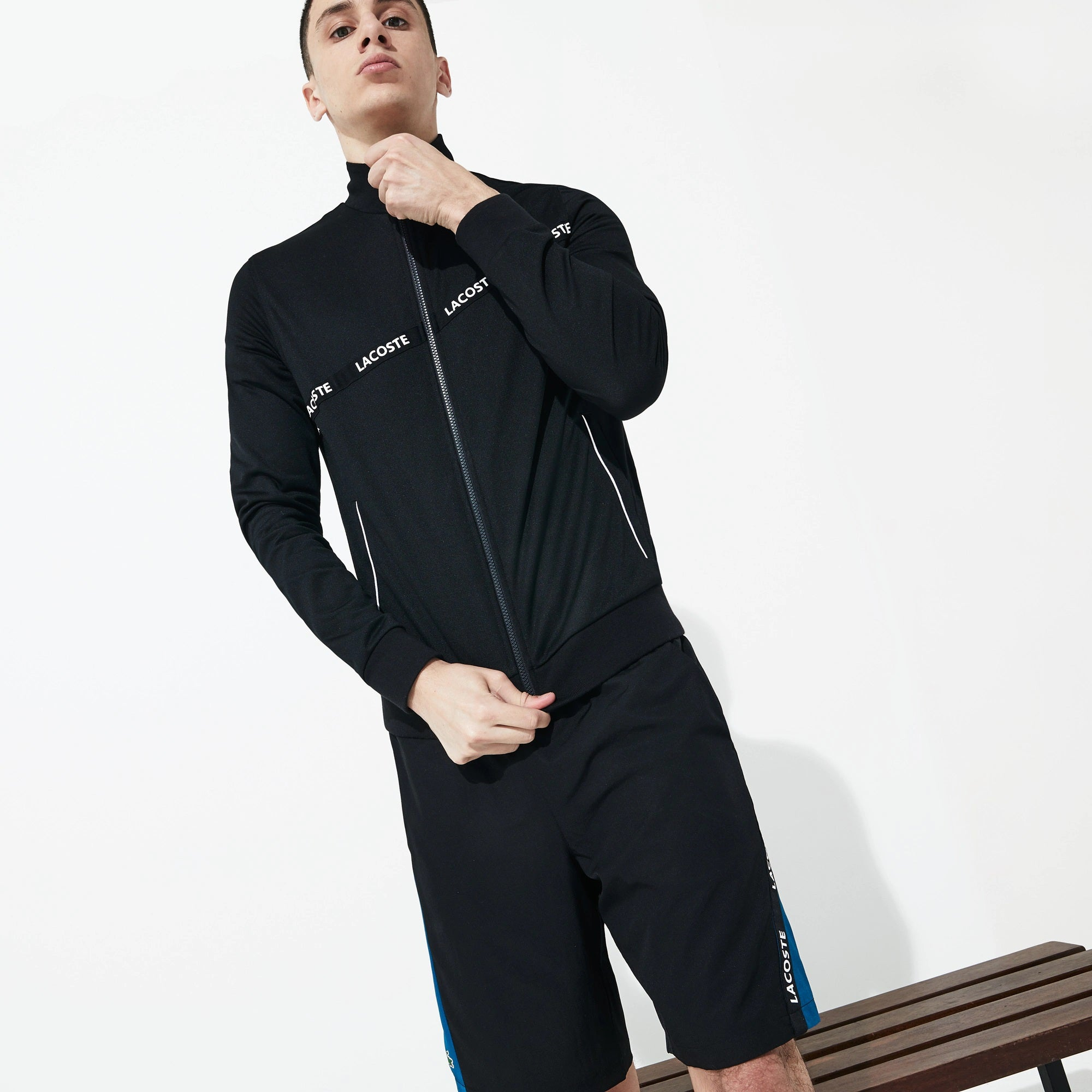 Men's SPORT Signature Band Piqué Zip Sweatshirt (Black/Black Black)