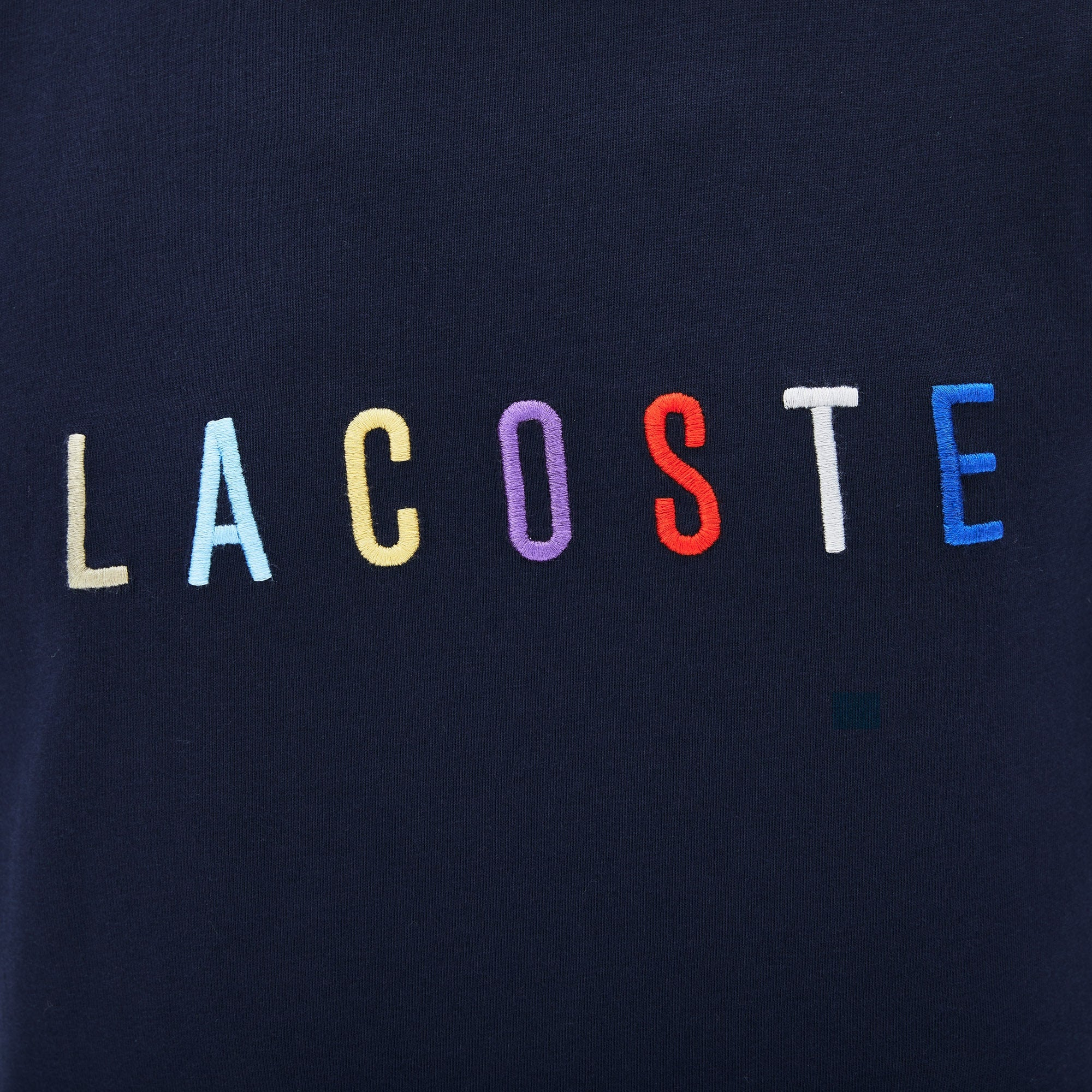 Men's Multicolored Logo Cotton T-shirt (Navy Blue)