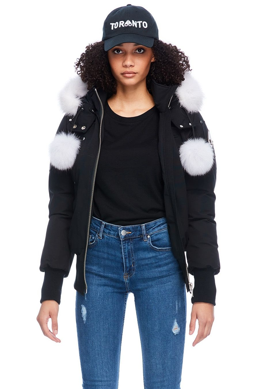 DEBBIE BOMBER (BLACK W/ NAT FUR)