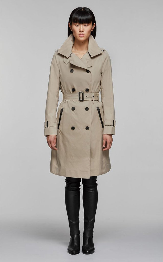 Felicia classic double-breasted trench coat with belt Sand