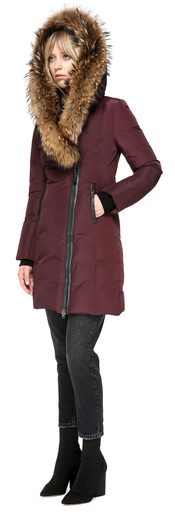 Kay Mid Length Classic Down COat with Fur Collar Bordeaux