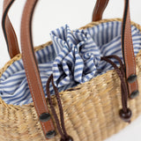 Mini Tote - Tan Handle Striped