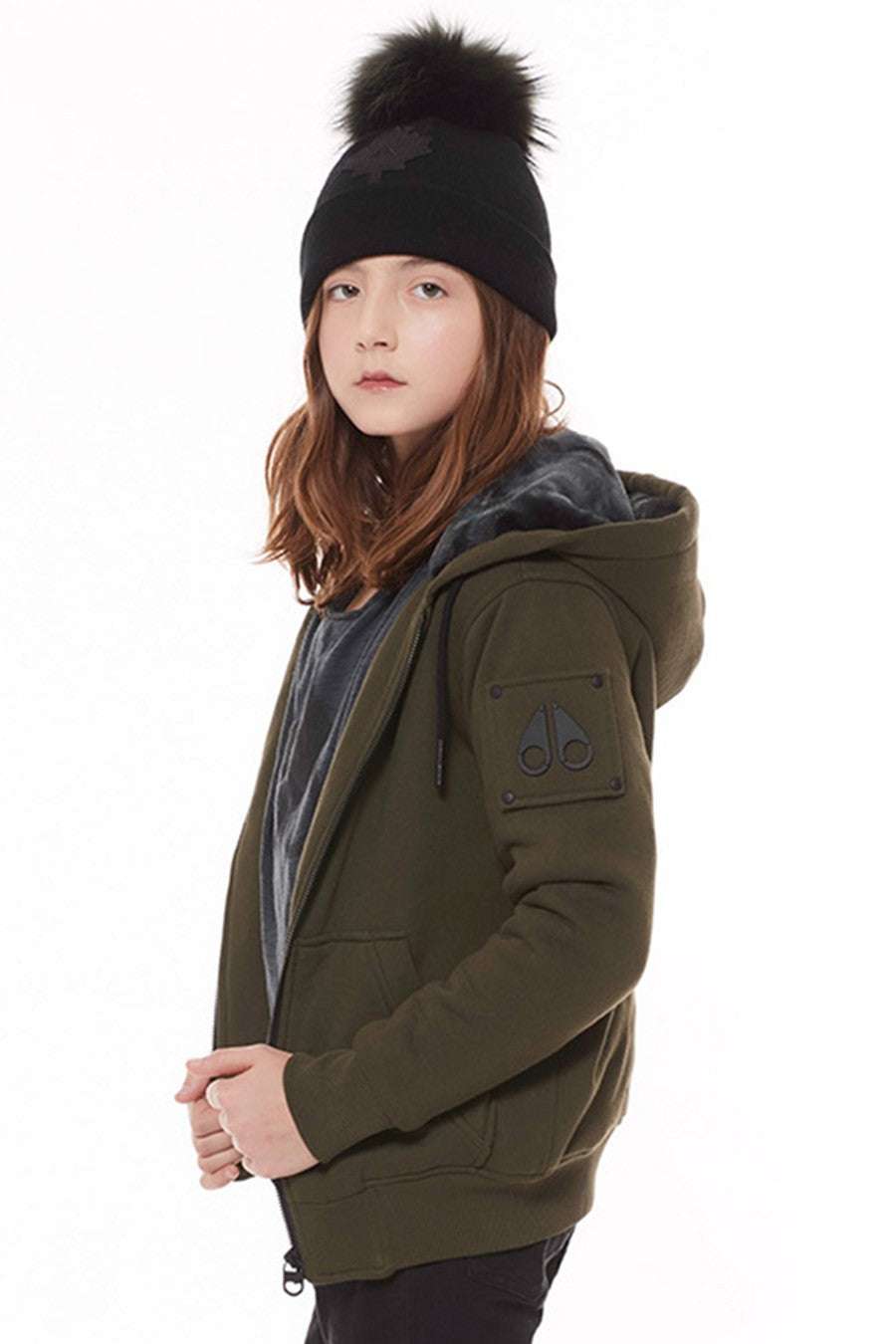 KIDS ZIP UP FUN BUNNY HOODIE OLIVE