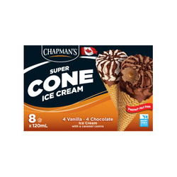 Chapman's Super Cone with Chocolate Centre Ice (8x120ml)