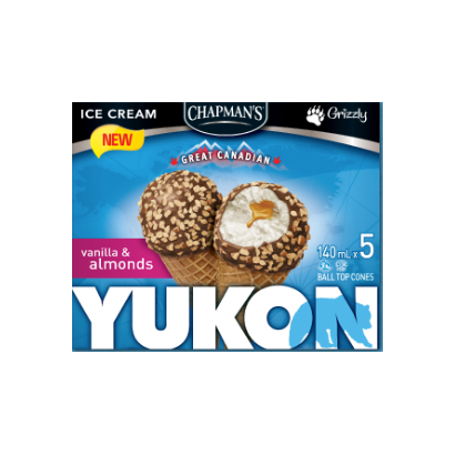 Chapman's Yukon Vanilla and Almonds Cone(5X140ml)