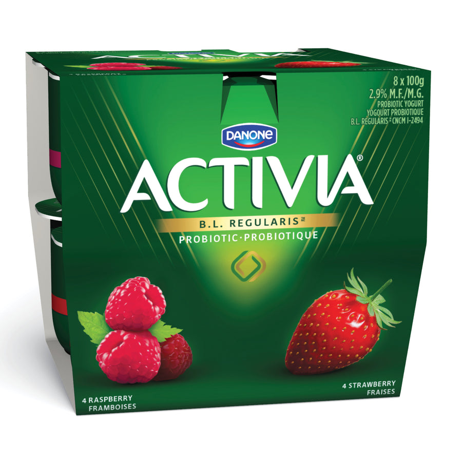 Danone Activia Probiotic Yogurt Strawberry/Raspberry 8x100G