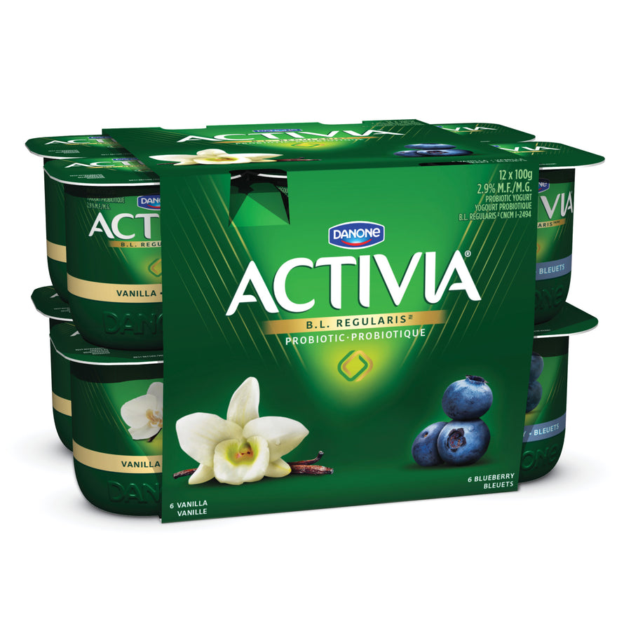 Danone Activia Probiotic Yogurt Vanilla/Blueberry 12x100G