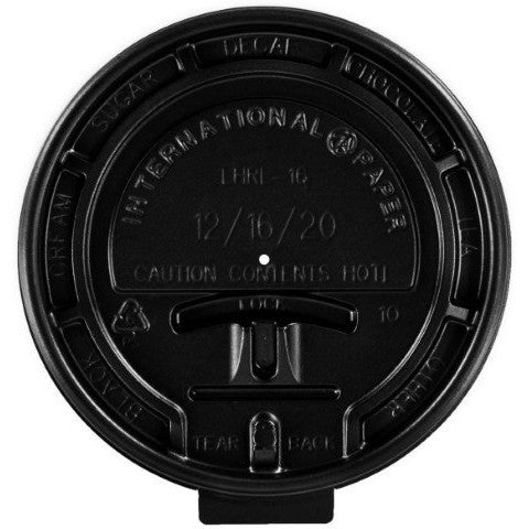 Morning Dew Black Tear-Back lids 10-24 oz - 100 Counts