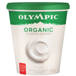 Olympic Organic Plain 3.5% Yogurt 650G