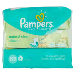 Pampers Natural Clean Baby Wipes (3 Pack x 64)