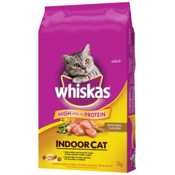 WHISKAS® Indoor Cat with Real Chicken, 3kg