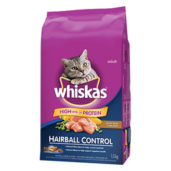 Whiskas Hairball Control with Real Chicken 1.5kg