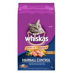 Whiskas hairball Control with Real Chicken, 3kg