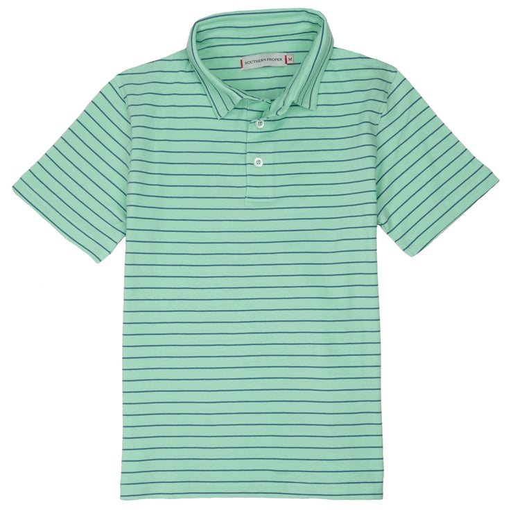 Southern Proper - Boys - Covington Polo: Brook Green Stripe