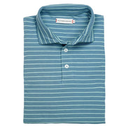 Southern Proper - Covington Polo: Dusty Blue Stripe