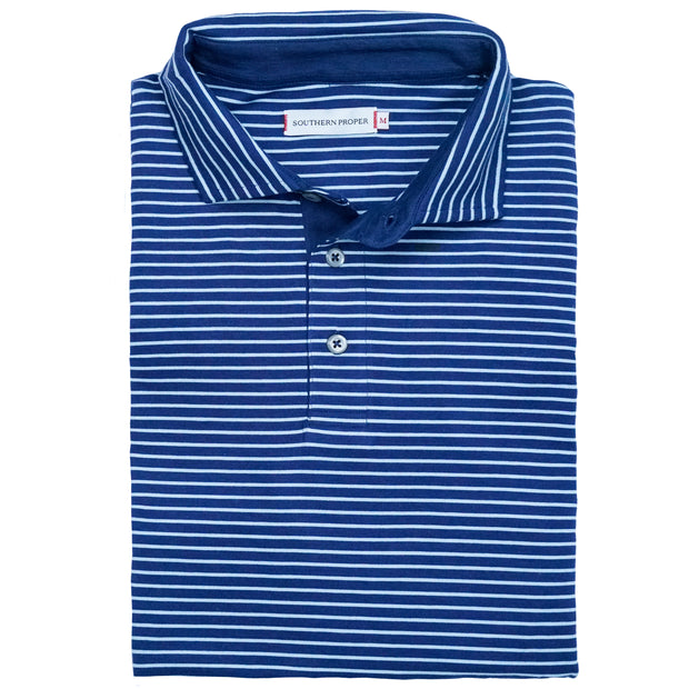 Southern Proper - Covington Polo: Patriot Blue / Porch Blue Stripe