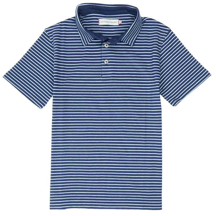 Southern Proper - Boys - Covington Polo: Patriot Blue / Porch Blue Stripe