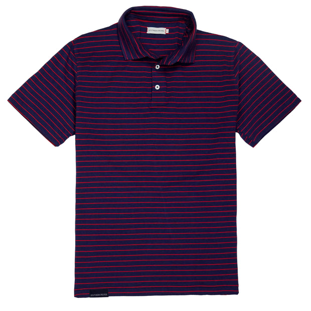 Southern Proper - Covington Polo: Patriot Blue / Red Stripe