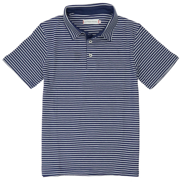 Southern Proper - Boys - Covington Polo: Patriot Blue / Porch White Stripe