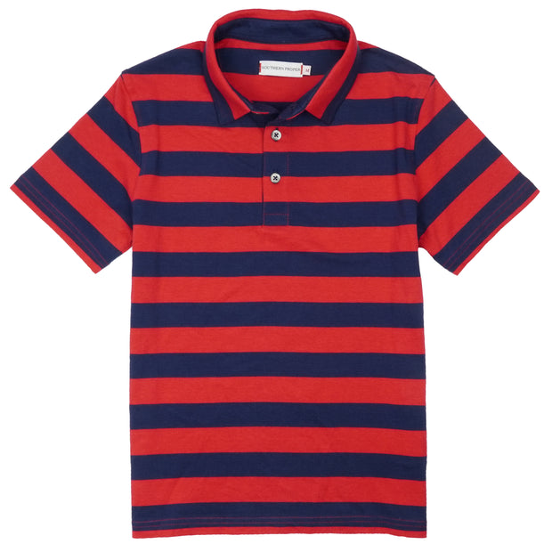 Southern Proper - Boys - Covington Polo: Proper Red Stripe