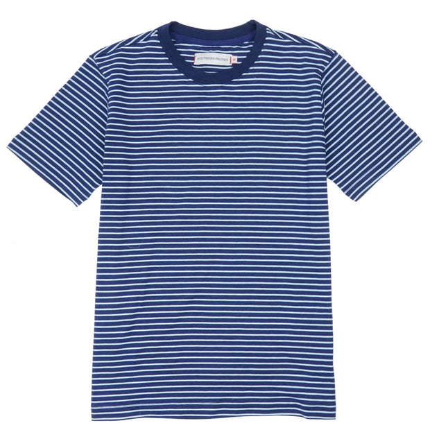Southern Proper - Boys - Deck Tee: Patriot Blue / Porch Blue Stripe