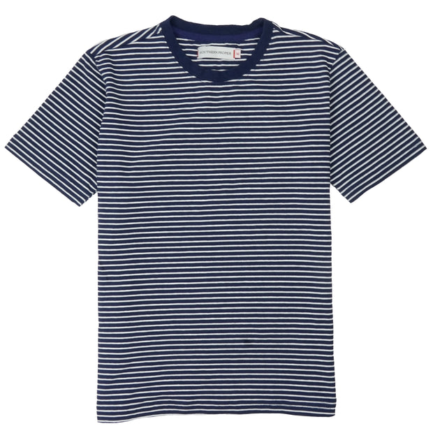 Southern Proper - Boys - Deck Tee: Patriot Blue / Porch White Stripe