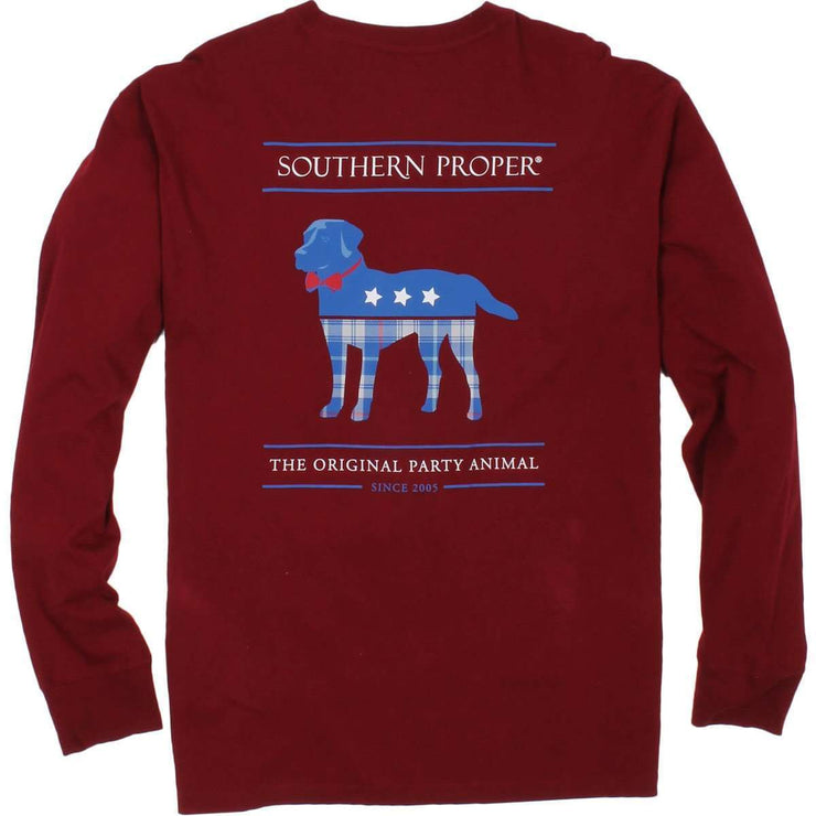 Southern Proper - Plaid Party Animal Tee: Merlot Long Sleeve
