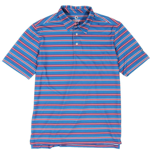 Southern Proper - Performance Polo: Shale Blue & Cherry