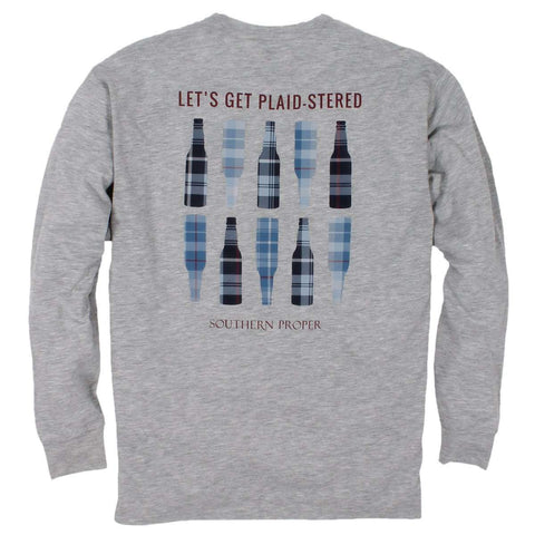 Southern Proper - Plaid-stered Tee: Heather Grey Long Sleeve