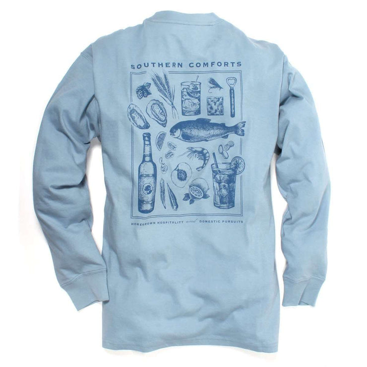 Southern Proper - Southern Comforts Tee: Dust Blue Long Sleeve