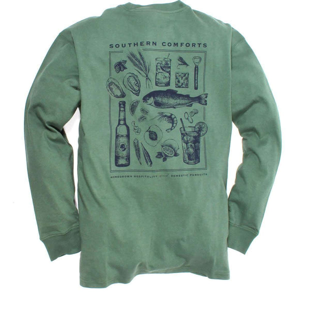 Southern Proper - Southern Comforts Tee: Duck Green Long Sleeve