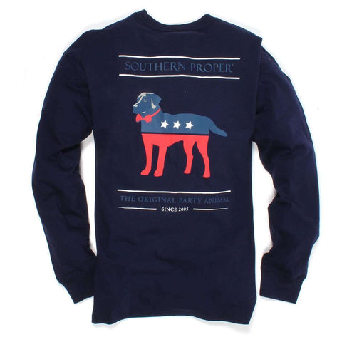 Southern Proper - Plaid Party Animal Tee: Midnight Blue Long Sleeve