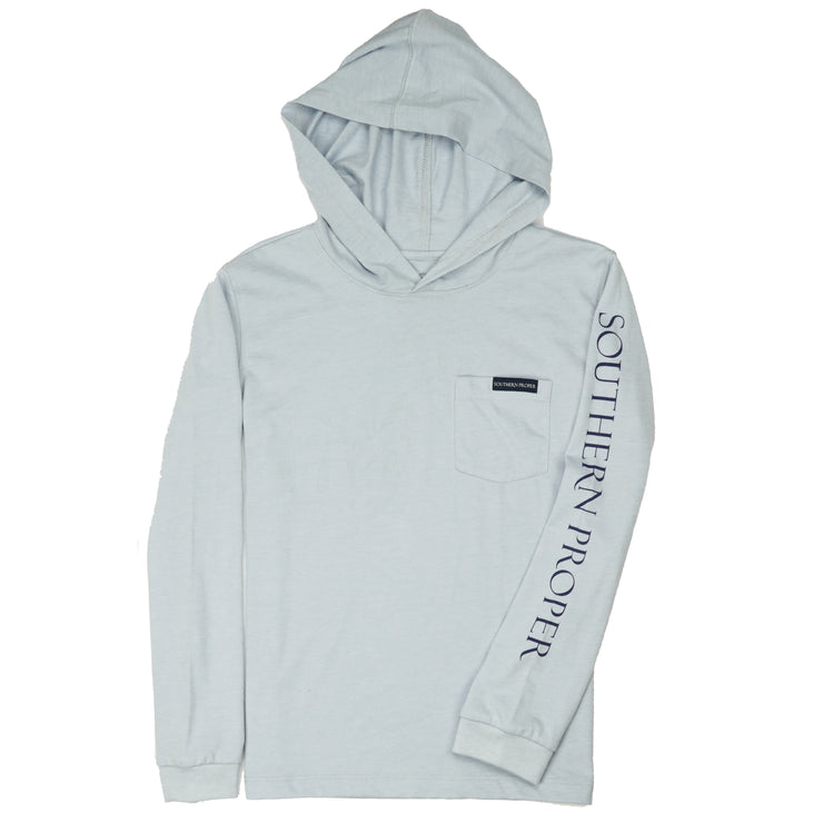 Southern Proper - Boys - Hoodie Long Sleeve Tee: Heather Grey Dawn
