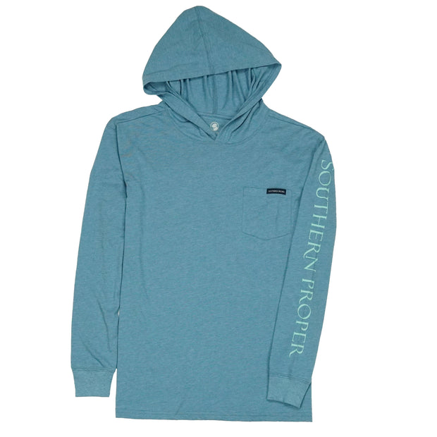 Southern Proper - Hoodie Tee: Heather Blue Shadow
