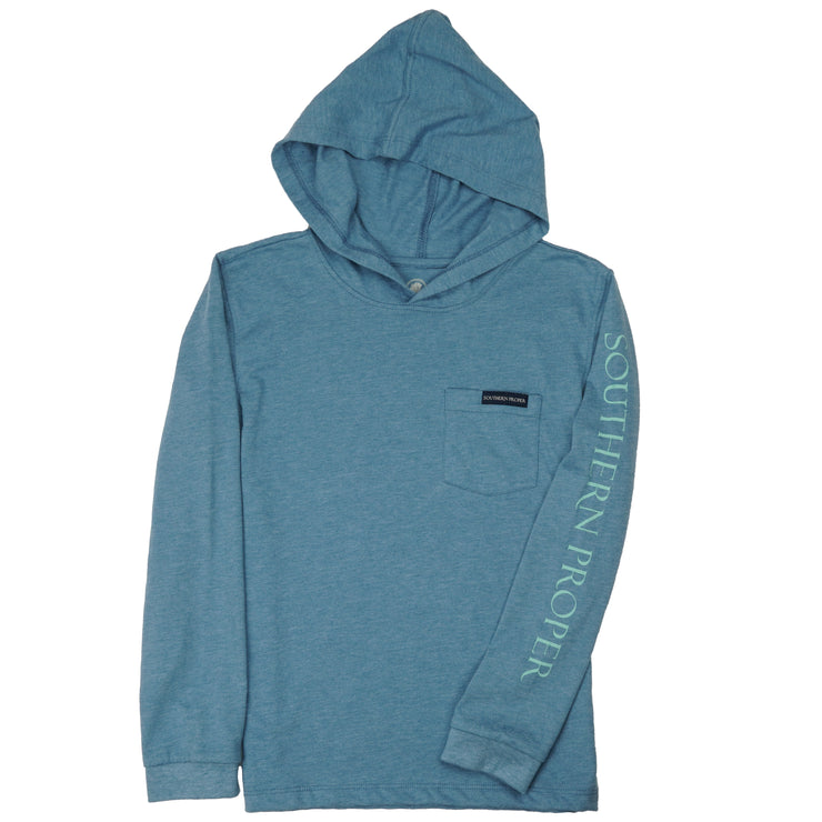 Southern Proper - Boys - Hoodie Long Sleeve Tee: Heather Blue Shadow