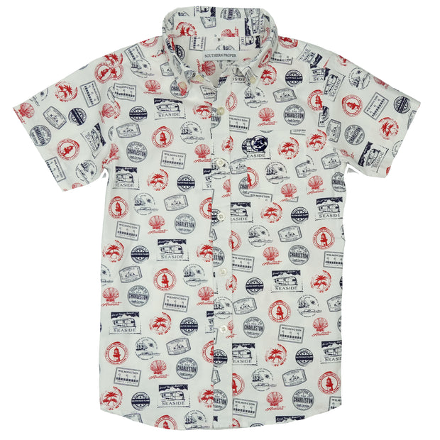 Southern Proper - Boys - Social Shirt: Beach Stamps