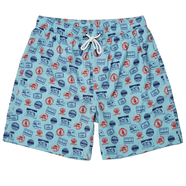Southern Proper - Southern Swim Trunk: Beach Stamps