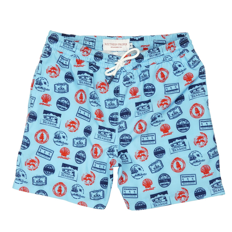 Southern Proper - Boys - Southern Swim Trunk: Beach Stamps