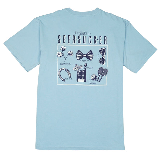Southern Proper - History of Seersucker Tee: Porch Blue