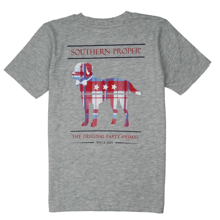 Southern Proper - Boys - Madras Party Animal Tee: Heather Grey